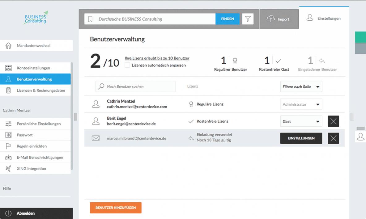 Benutzerverwaltung Nutzer einladen