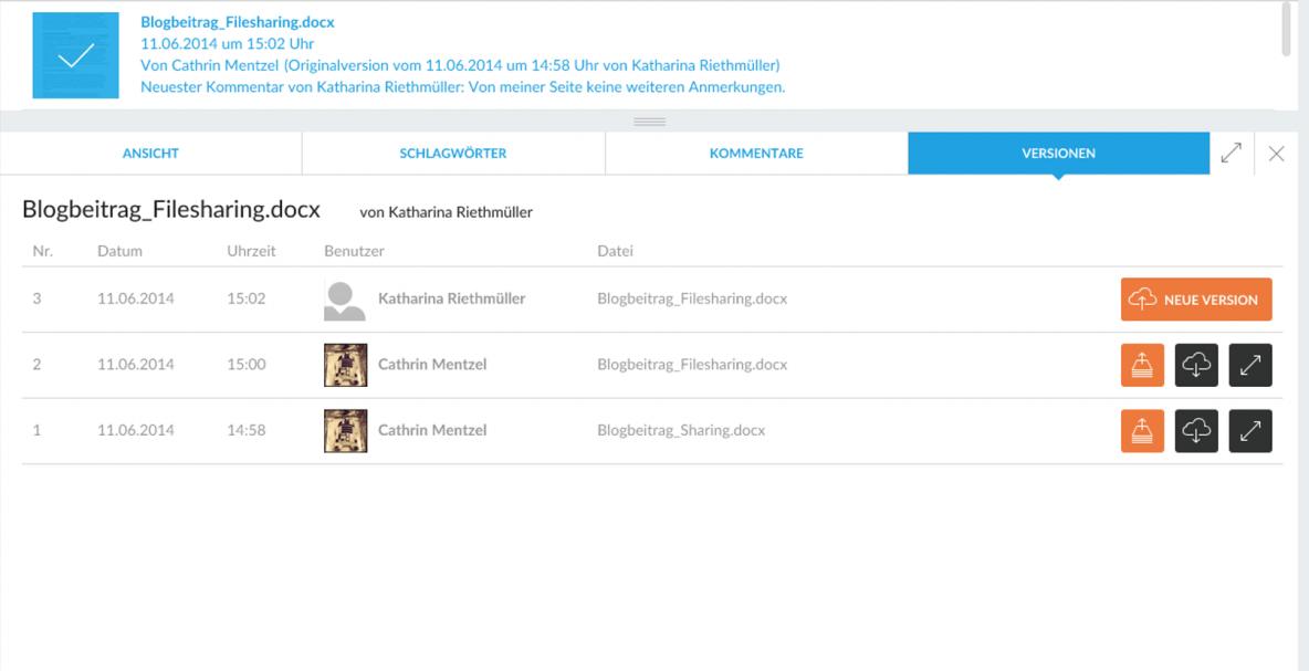 CenterDevice Versionierung Dateiversionierung