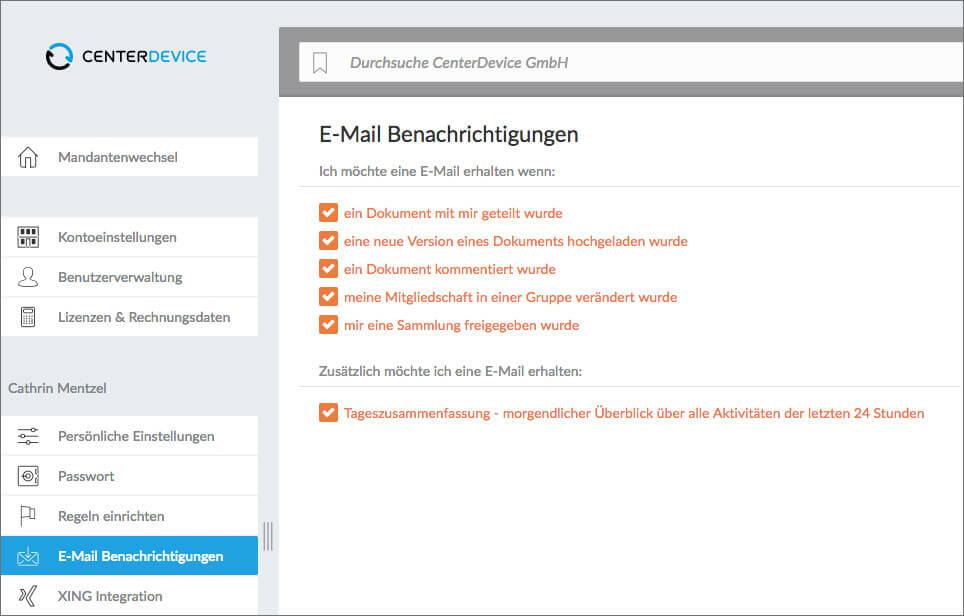 E-Mail-Benachrichtigungen