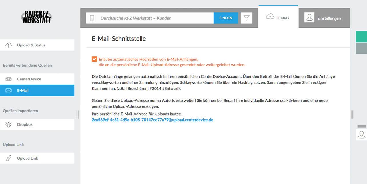 E-Mail Upload E-Mails archivieren E-Mails importieren