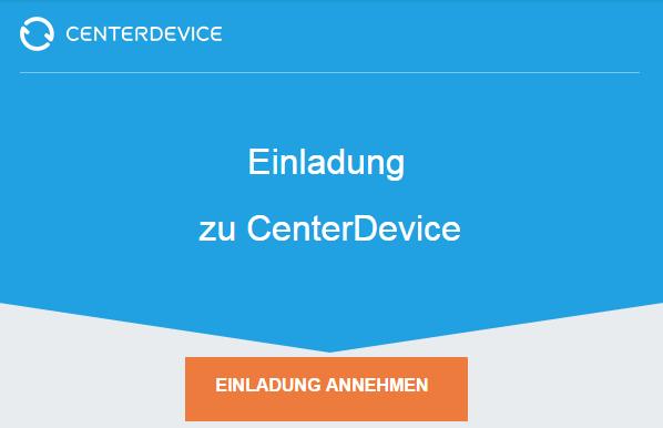 Eine Einladung zu CenterDevice annehmen
