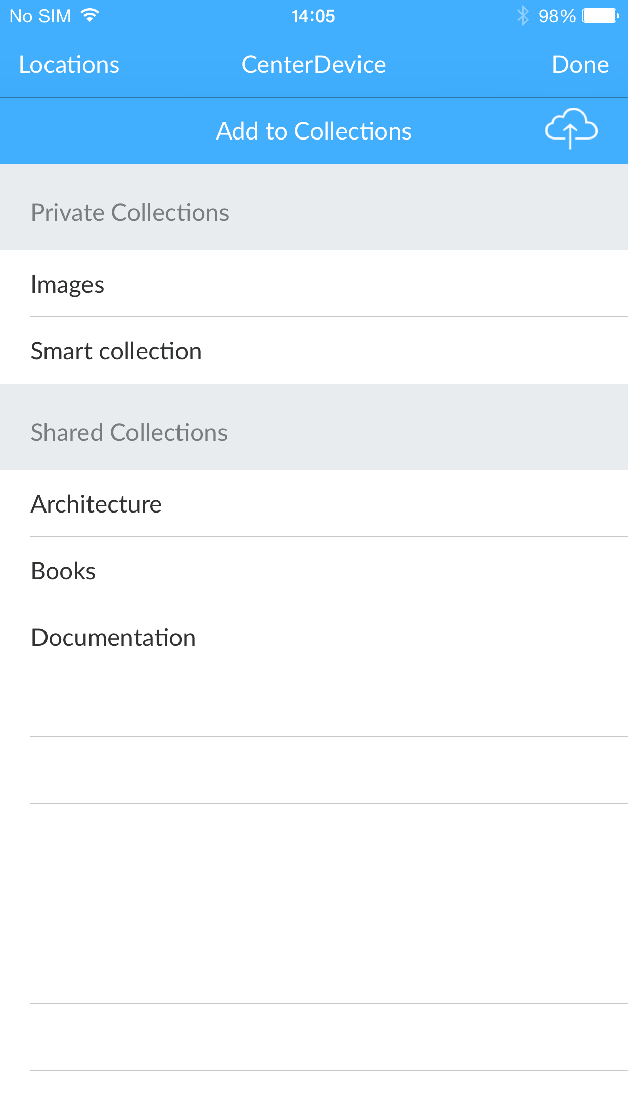 CenterDevice collections screen