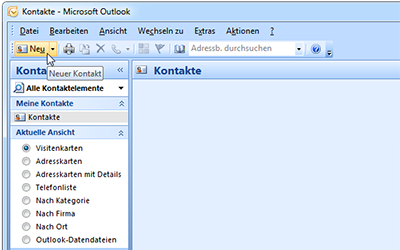 Kontakte in Outlook E-Mail-Anhang