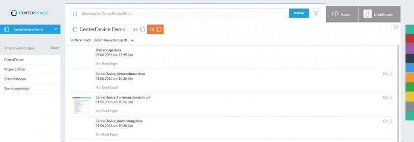Dateien importieren CenterDevice lokal Sammlungen
