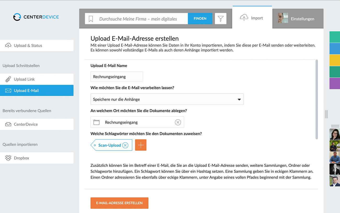 Upload E-Mail-Adresse einrichten