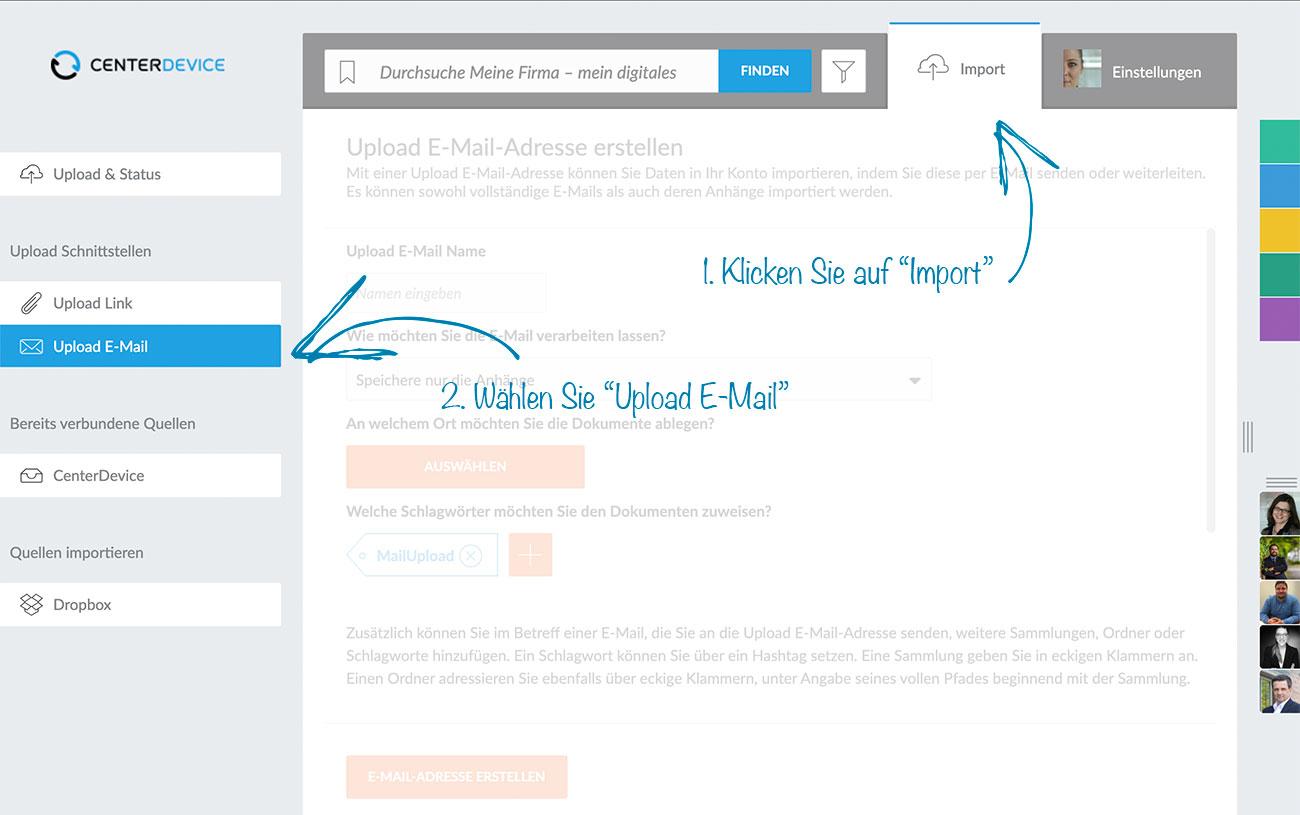 Upload E-Mail-Adresse erstellen