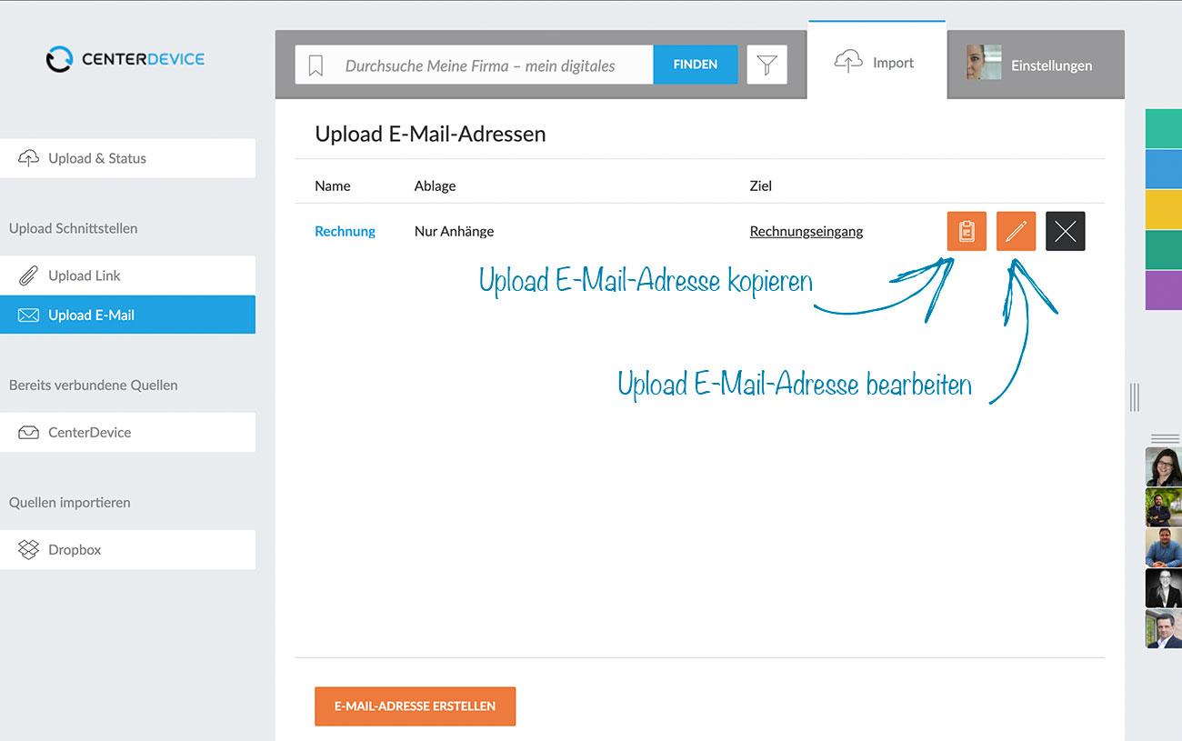 Upload-E-Mail-Adressen verwalten