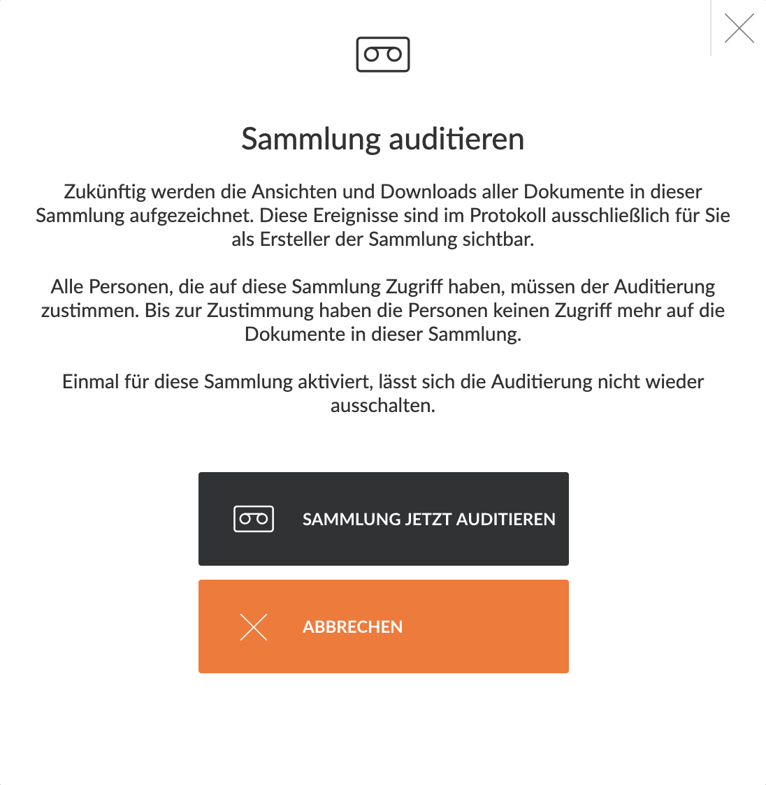 Sammlung auditieren