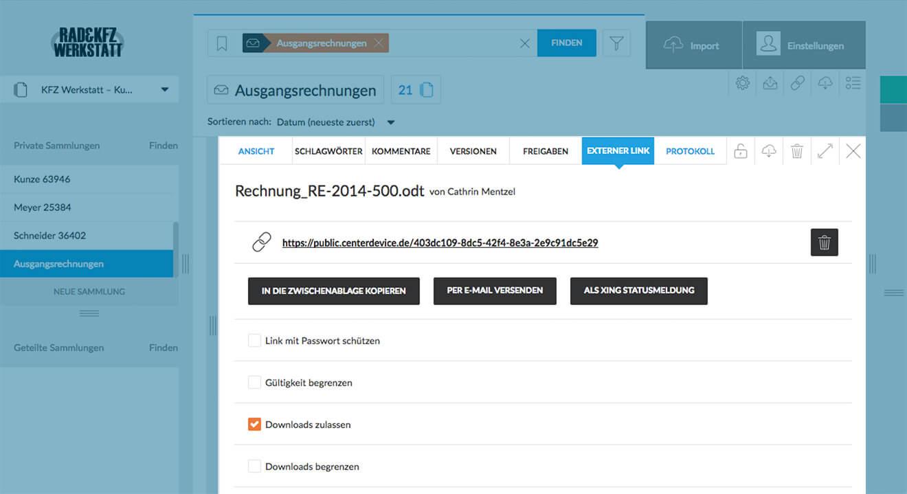 Externer Link auf Datei in CenterDevice