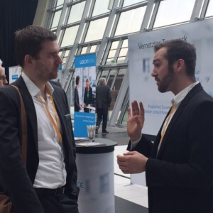 Marcel Milbrandt am CenterDevice-Stand beim Cloud Unternehmertag