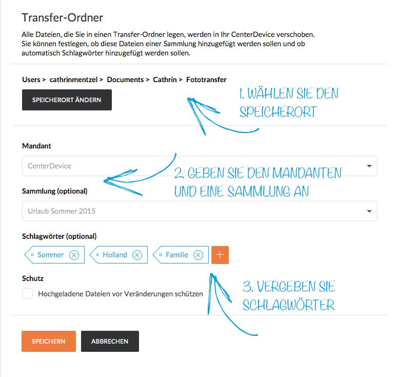 Transferordner in CenterDevice