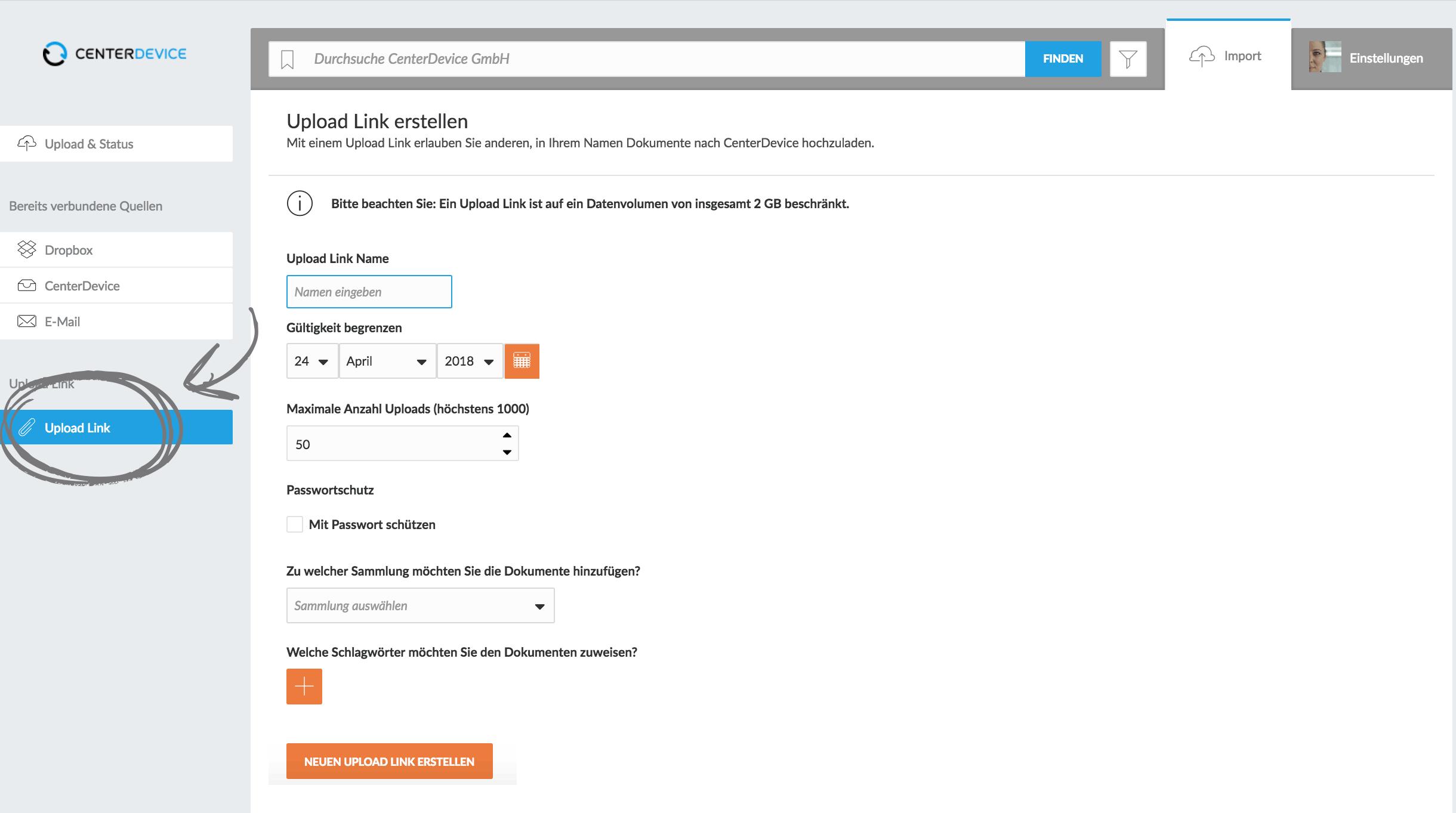 So erstellen Sie einen Uploadlink in CenterDevice